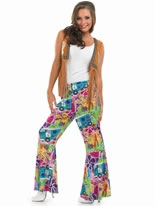 Adult Ladies Hippie Patterned Flares