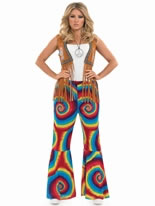 Adult Ladies Hippie Tye Dye Flares