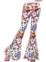 Ladies Multicoloured Groovy Flared Trousers
