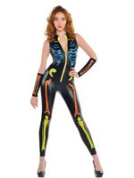 Adult Neon Skeleton Catsuit Costume