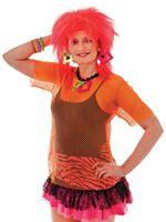 Ladies Orange Mesh Top