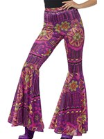 Ladies Pink Woodstock Psychedelic Flared Trousers