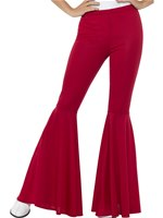 Ladies Red Flared Trousers
