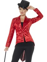 Ladies Red Sequin Tailcoat Jacket