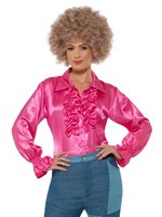 Ladies Satin Ruffle Pink Shirt