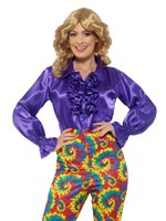 Ladies Satin Ruffle Purple Shirt
