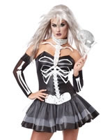 Adult Ladies Skeleton Masquerade Costume
