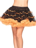 Layered Striped Tulle Petticoat Black and Orange