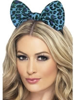 Blue Leopard Bow on Headband