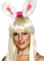 Marabou Pink and White Light Up & Glow Bunny Ears [26905]