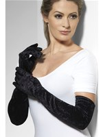Long Gloves Black Velveteen