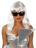 Adult Gaga White Wig and Glasses