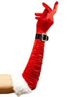 Long Santa Gloves Red