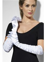 Long Temptress Gloves White