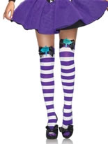 Mad Hatter Bow Top Thigh Highs [6622]