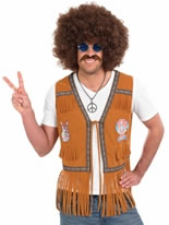 Adult Mens 60's Hippie Fringed Waistcoat
