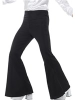 Mens Black Flared Trousers