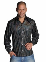 Mens Disco Sequinned Black Shirt