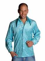 Adult Mens Disco Sequinned Blue Shirt