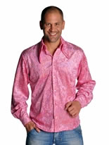 Mens Disco Sequinned Pink Shirt [211213-3]