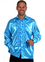 Mens Frill Satin Shirt AQUA [205201-16]