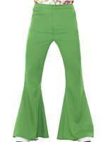Mens Green Flared Trousers