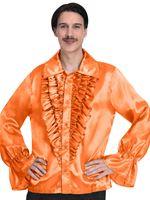 Mens Orange Satin Shirt