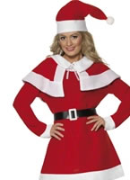 Adult Miss Santa Red Fleece Costume