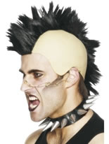 Mohican Wig With Rubber Bald Headpiece Black