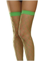 Neon Green Fishnet Thigh High Stockings