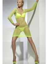 Adult Neon Green Lattice Net Dress