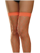 Neon Orange Fishnet Thigh High Stockings