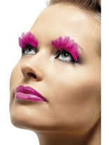 Neon Pink Feathered Eyelashes [36520]