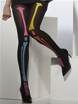 Neon Skeleton Print Tights