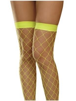 Neon Yellow Fishnet Thigh High Stockings