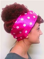 Pink and White Polkadot Satin Headscarf