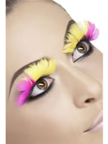 Pink and Yellow Feather Eyelashes