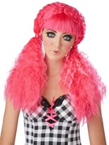 Pink Crimped Doll Wig