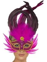 Pink Feathered Eyemask