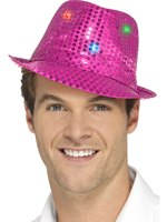 Pink Light Up Sequin Trilby Hat