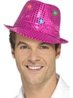 Pink Light Up Sequin Trilby Hat