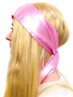 Pink Satin Headscarf