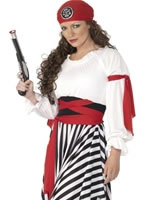 Pirate Ladies Costume Black White Red [25797]