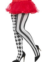 Plus Size Black and White Harlequin Tights