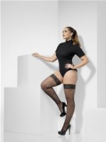 Plus Size Black Fishnet Hold-Ups