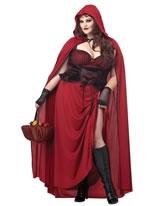 Adult Plus Size Dark Red Riding Hood Costume [01719]