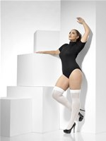 Plus Size White Opaque Hold-Ups