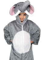 Plush Elephant Costume Grey White Velour [30020]