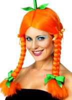 Pumpkin Wig With Plaits And Green Ribbons Orange