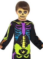 Punky Multi-Neon Skelton Boy Costume